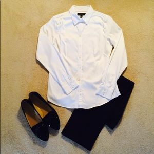 Ann Taylor NWOT Crisp White Long Sleeve Shirt, 10
